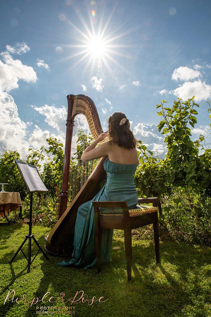 Woman playing a harp