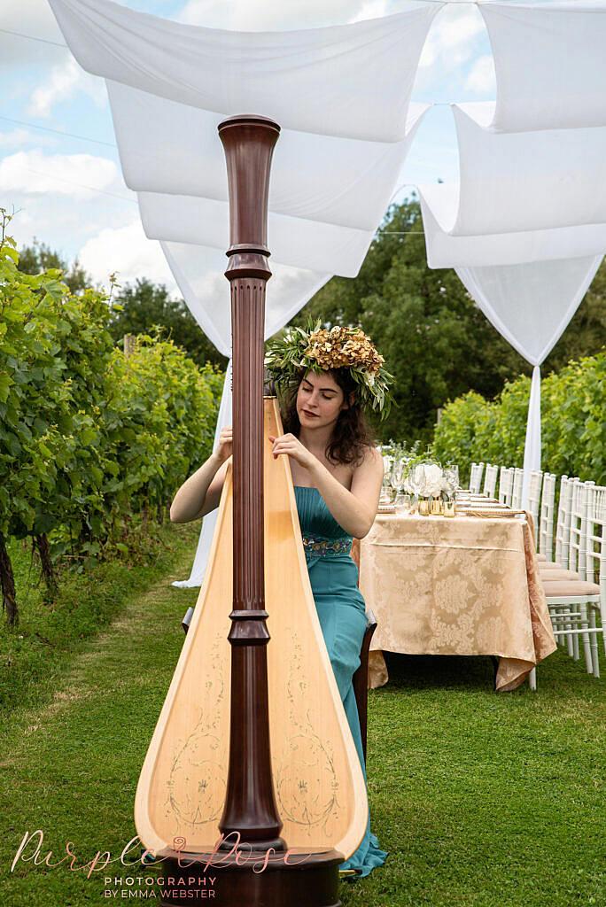 Woman playing harp in vineyard