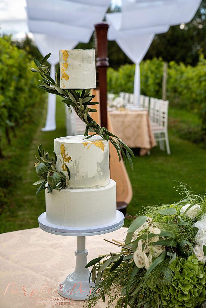 Sage and gold wedding cake