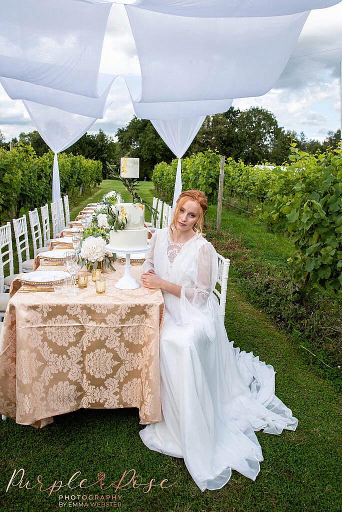 Bride sat at table