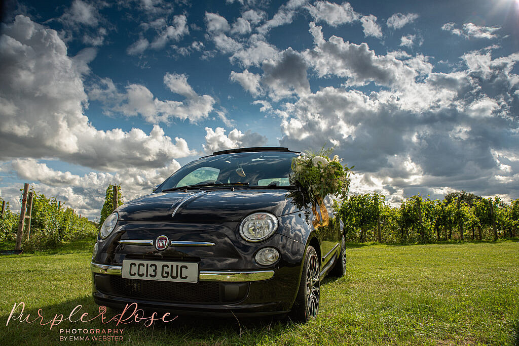 Car parked outside vineyard
