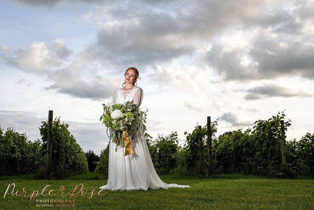 Bride in front of vineyard