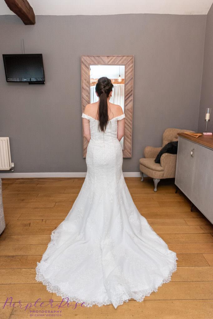 Back details of a brides wedding dress