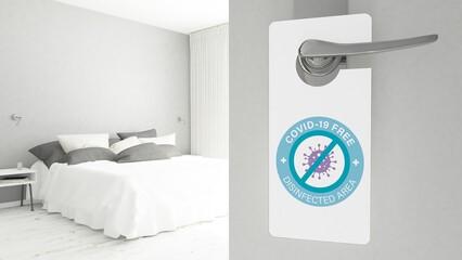COVID Free Sign on Bedroom Door