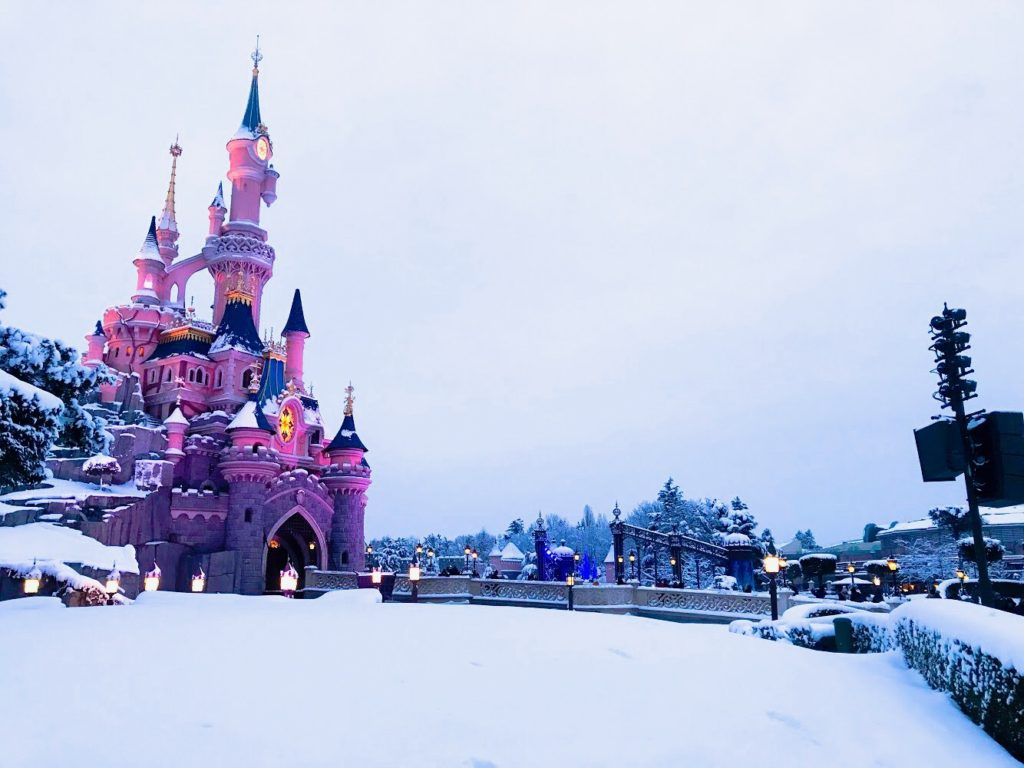 Disneyland Park in the snow