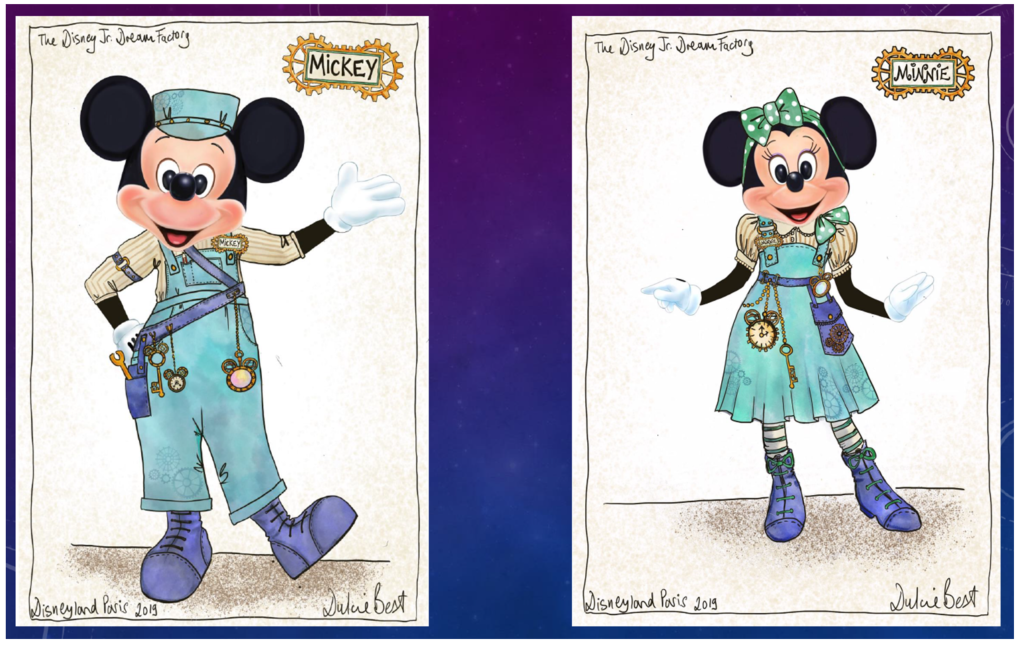 Concept art of Mickey & Minnie costumes in Disney Junior Dream Factory