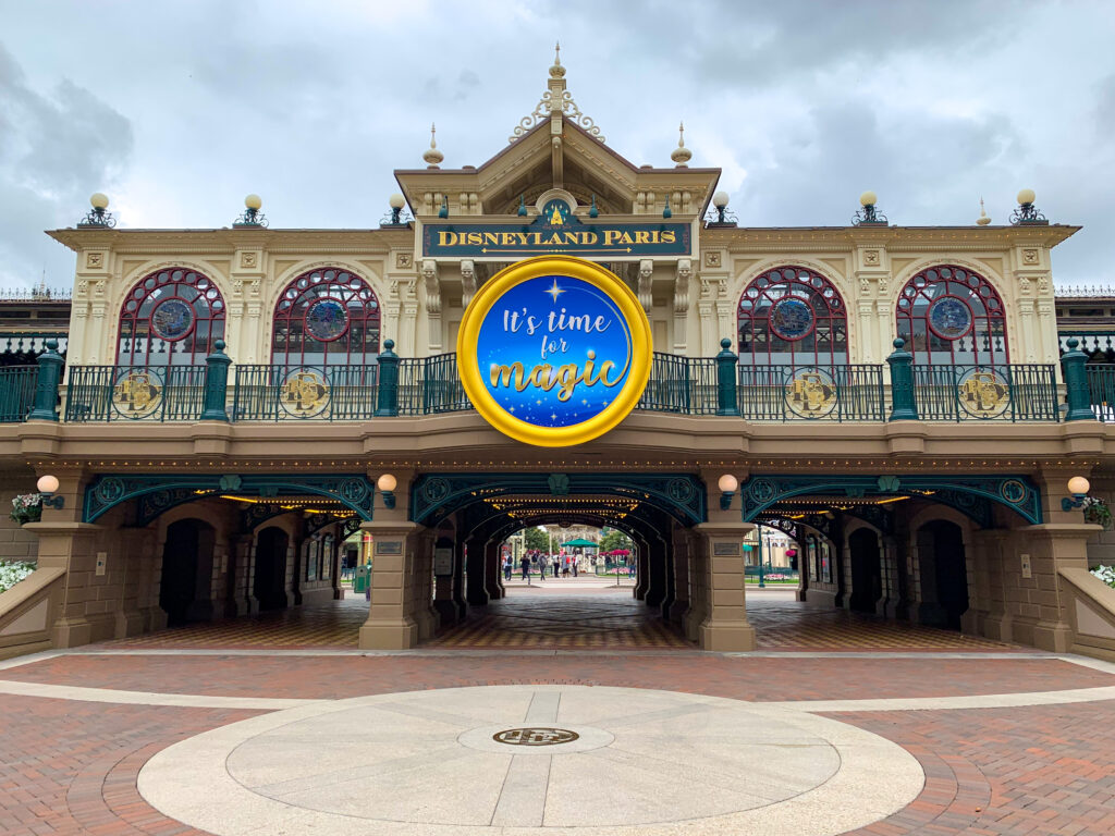 "Main Street Station features ""it's time for magic"" signage to mark the Disneyland Paris reopening"