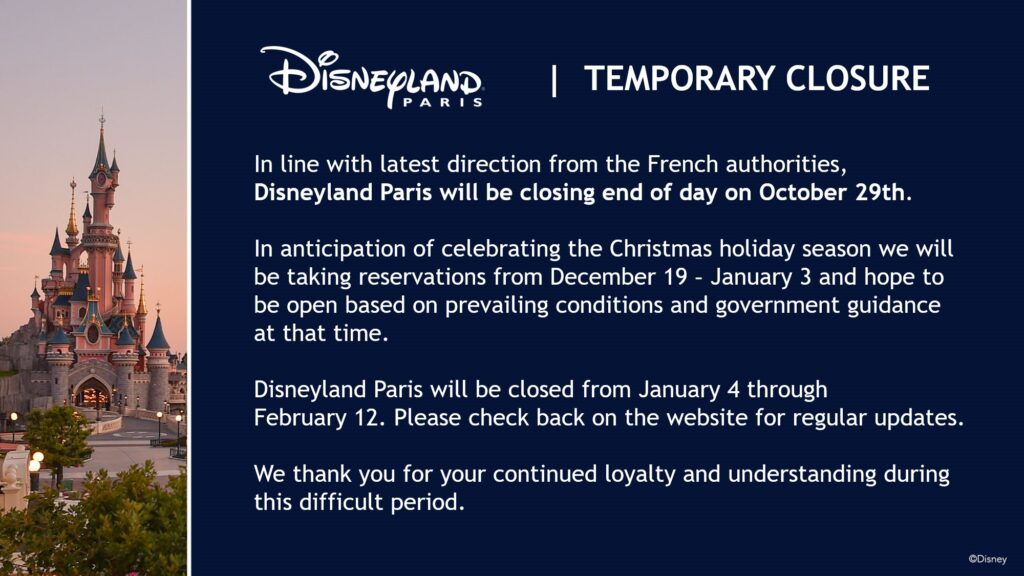 Official statement from Disneyland Paris on the closure of the resort from 30th October until February 2021