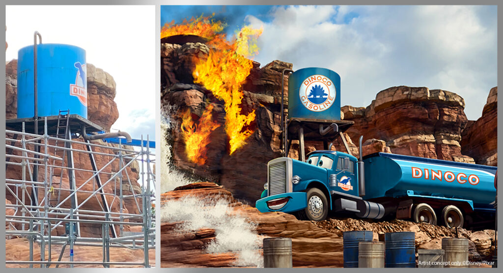 The former water tower of Catastrophe Canyon has been retheme for Cars Route 66 Road Trip