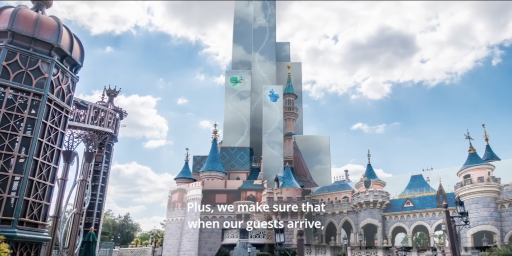 Flora, Fauna, and Merryweather will appear on the tarp of Sleeping Beauty's Castle as it undergoes its major refurbishment