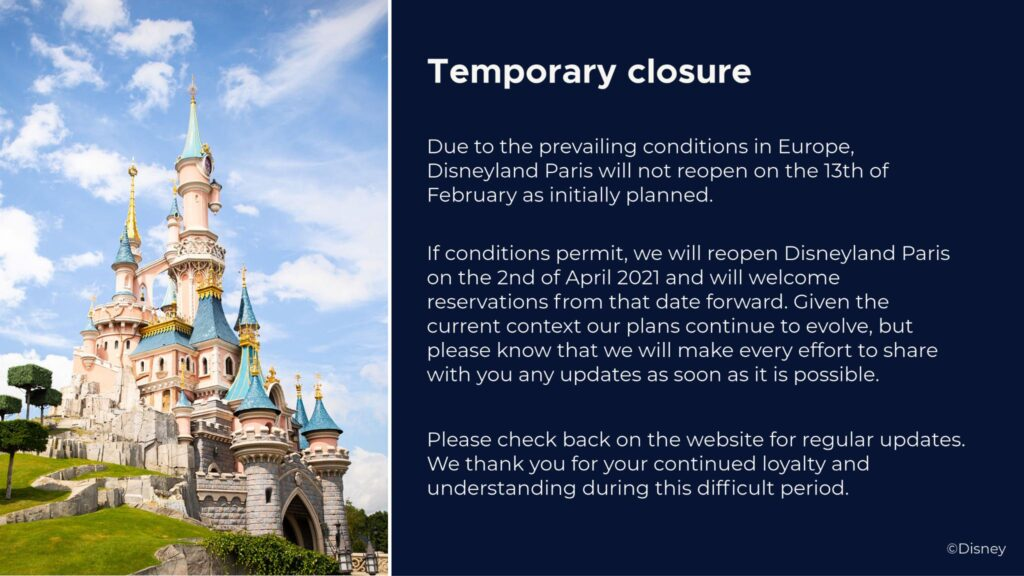 Official statement from Disneyland Paris, confirming the February re-opening has been delayed until 2nd April 2021