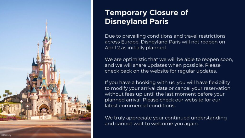 Disneyland Paris' re-opening has been cancelled again, with the resort remained closed until further notice