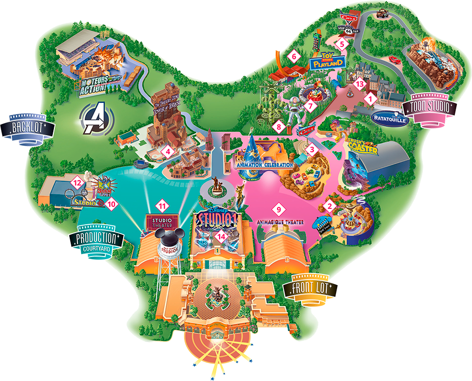Walt Disney Studios Park 2021 map