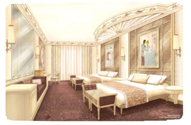 Concept Art of the new look rooms coming to Disneyland Hotel