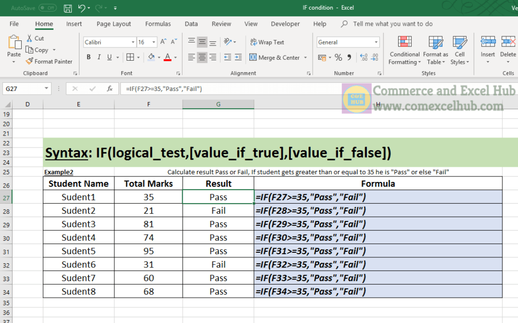 Excel IF Condition Function