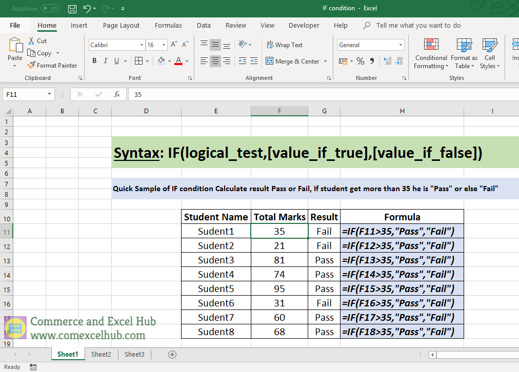 How to use Excel IF Condition Function