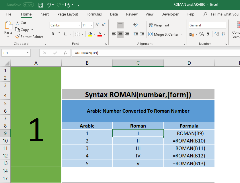 How to convert Normal Numbers to Roman Numbers in Excel