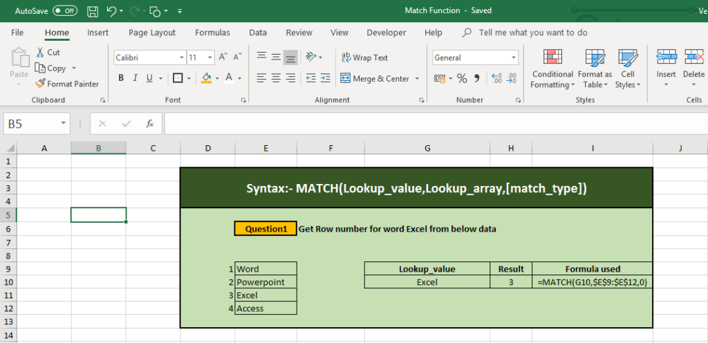 How to use Excel Match Function in excel