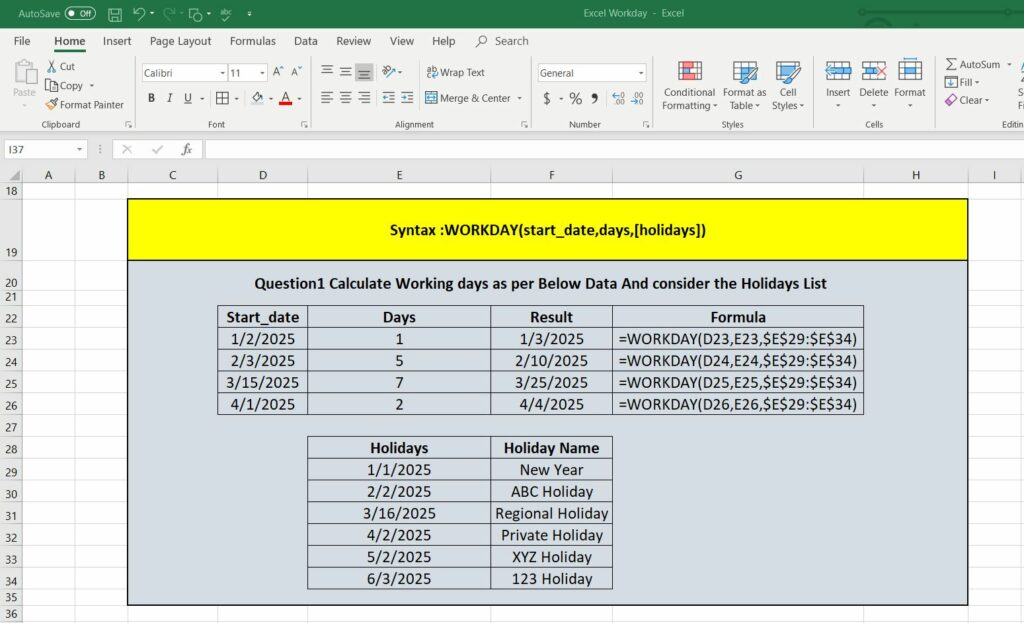 Excel Working days calculation and networkdays excel and exclude weekends in excel date calculations