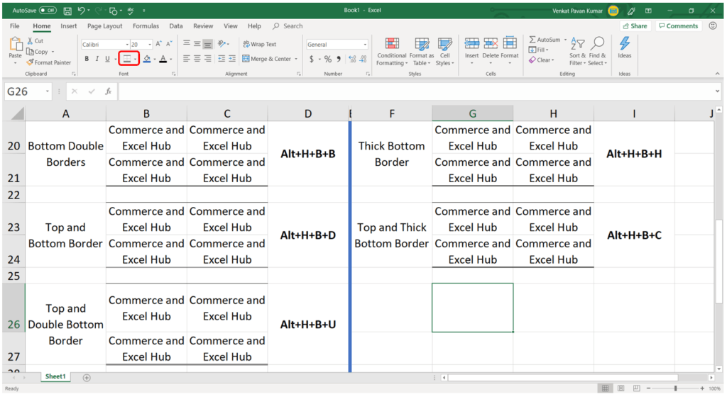 Excel beginners How to use Excel Borders