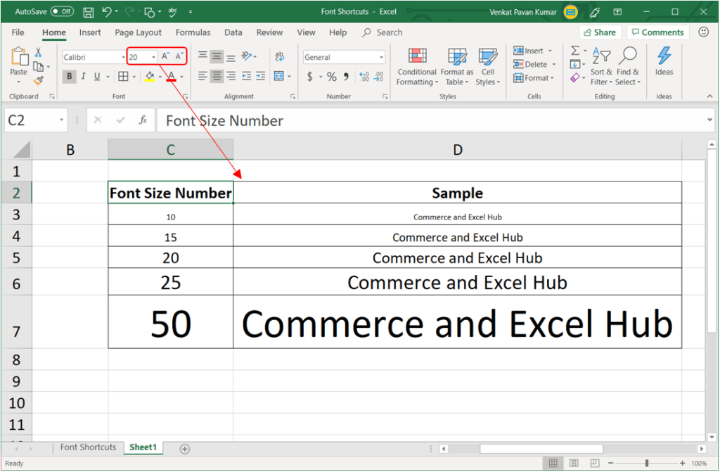 Excel Beginners online Excel tutorial Excel Font Sizes.