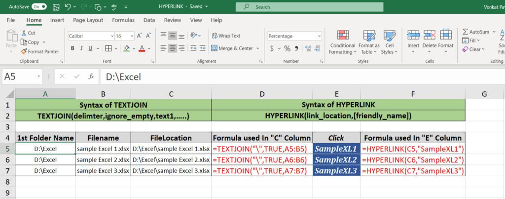 excel hyperlink formula to another sheet