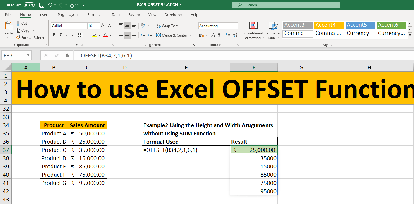 How to use Excel Offset function   ComExcelHub