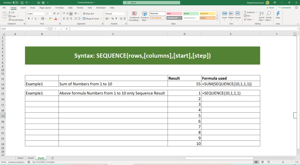 How to Excel SEQUENCE Function