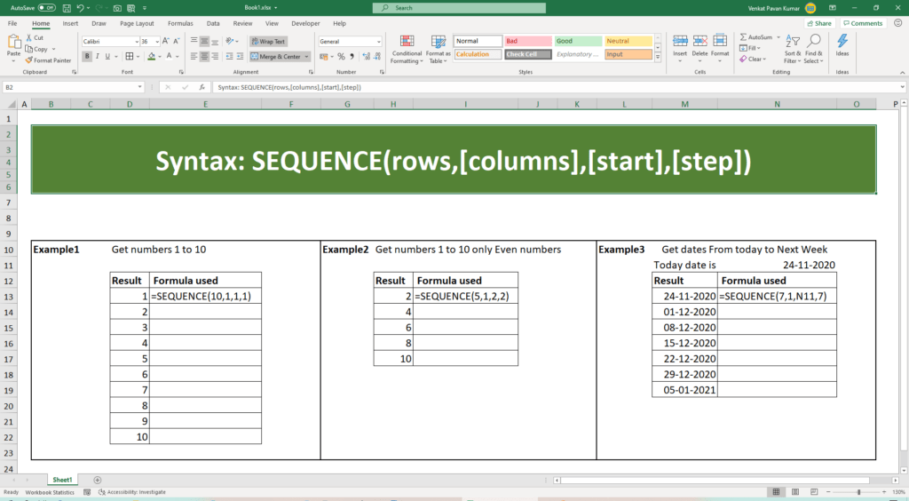 What are the uses of Excel SEQUENCE Function