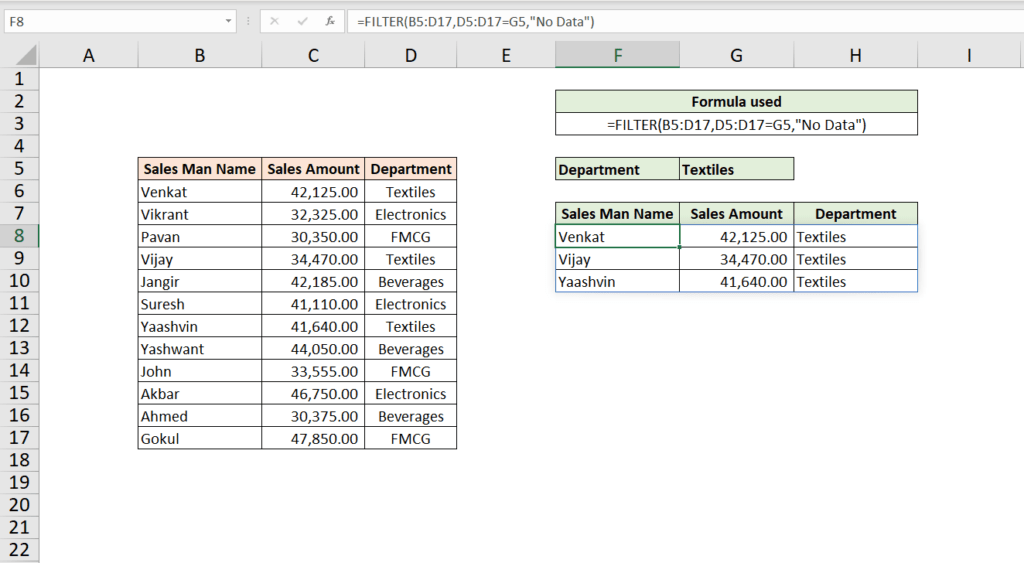 How to use Excel Filter Function