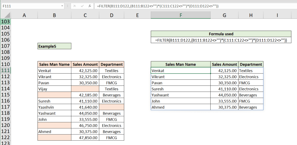 Excel Filter Function