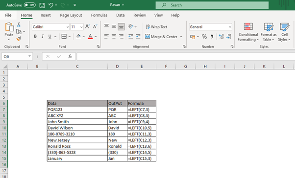 Excel LEFT function examples
