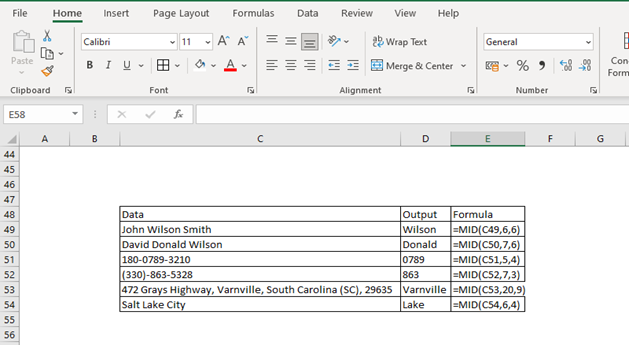 Excel MID function