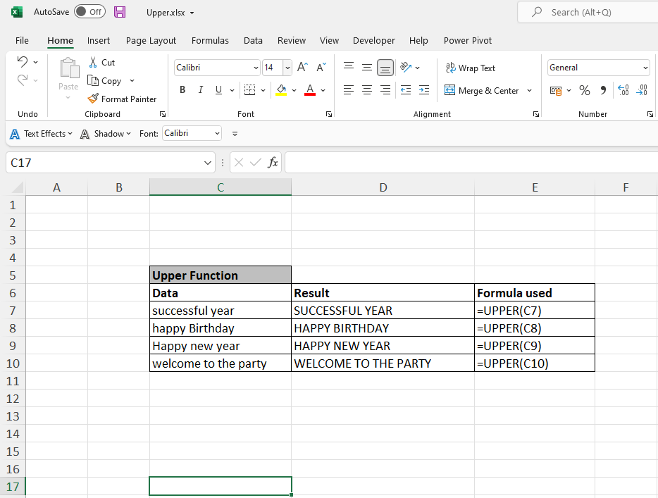 How to use Excel Upper Function