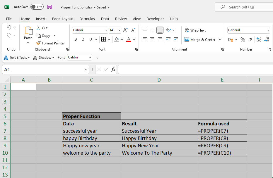 How to use Excel Proper Function