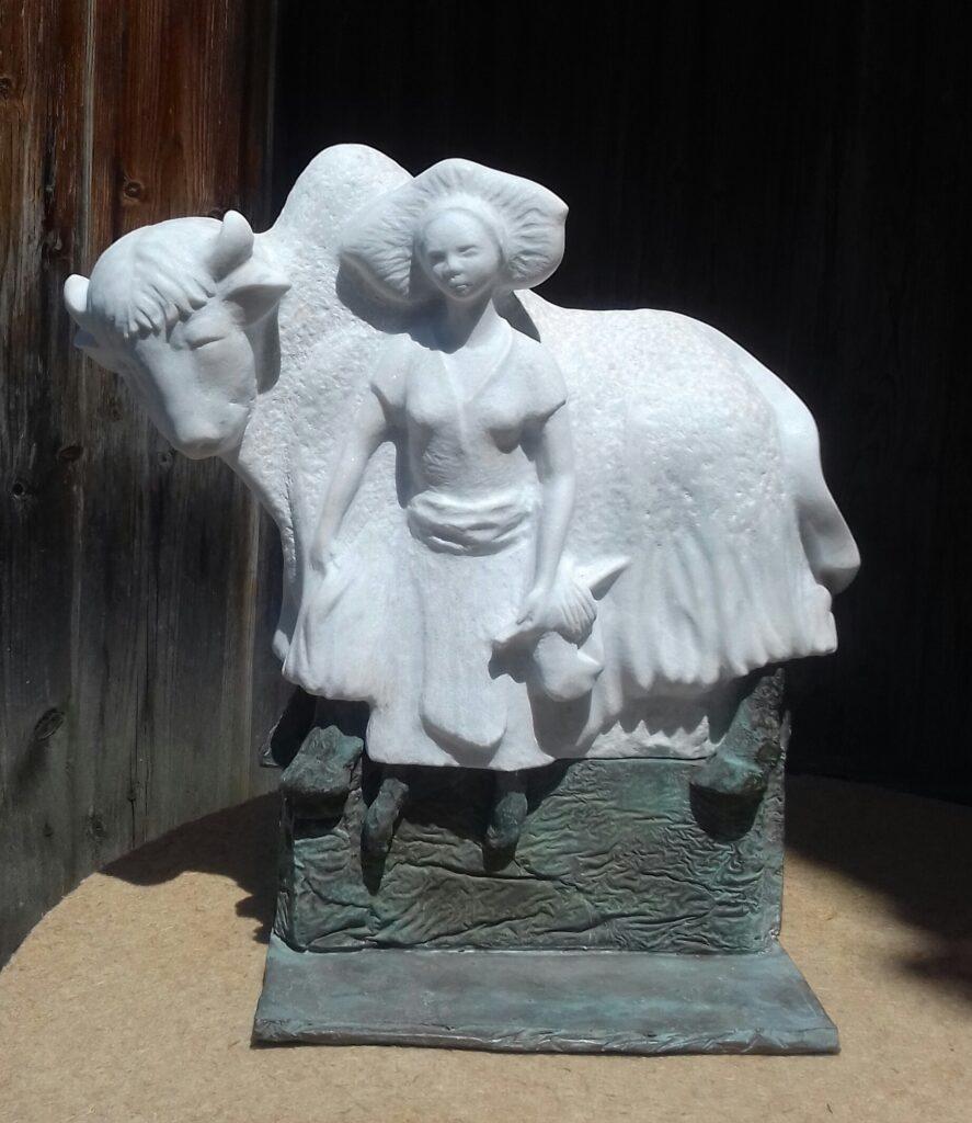 Le yak blanc, marbre statuaire Carrare et bronze