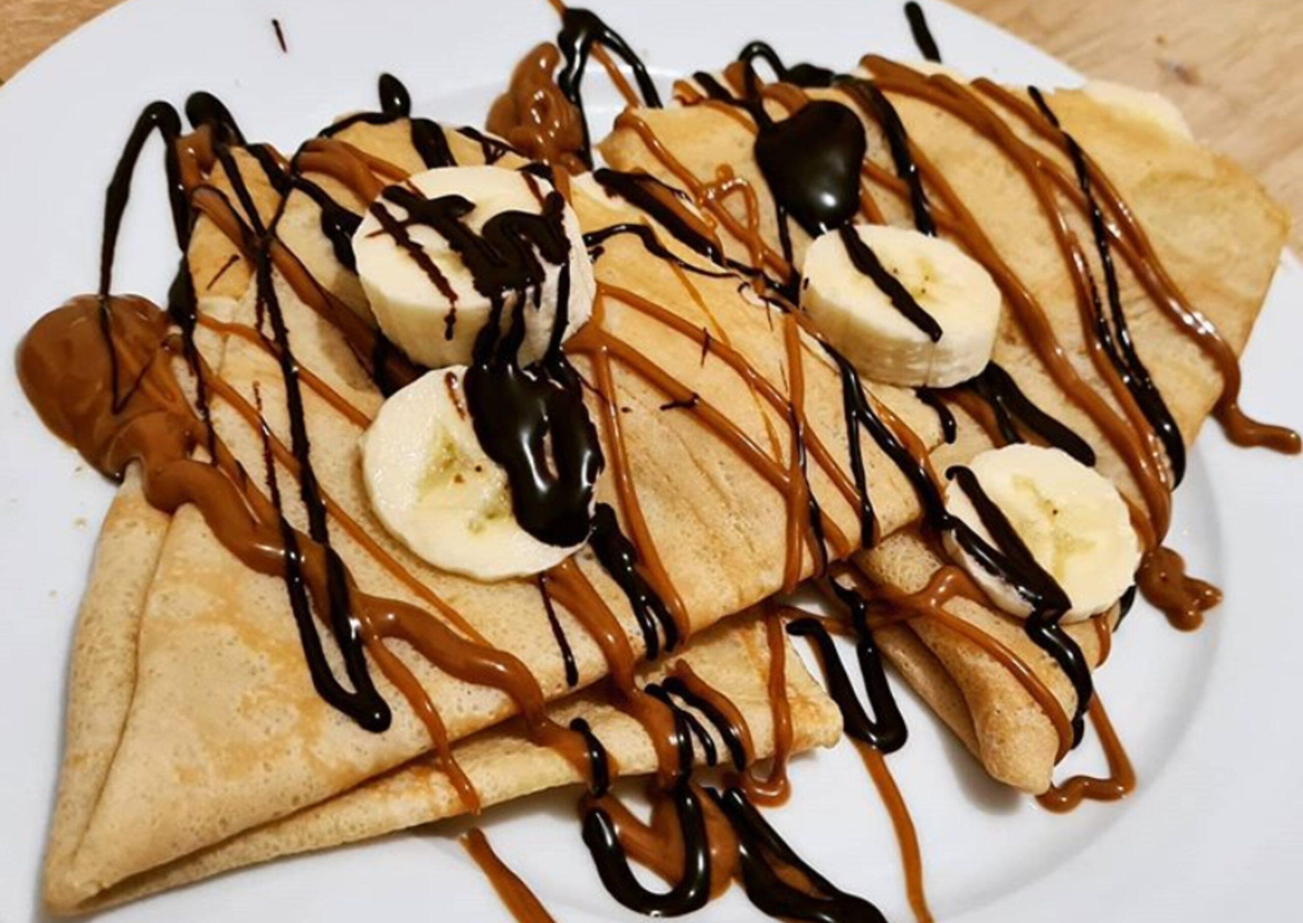 Dark Chocolate, Banana & Biscoff Crepe
