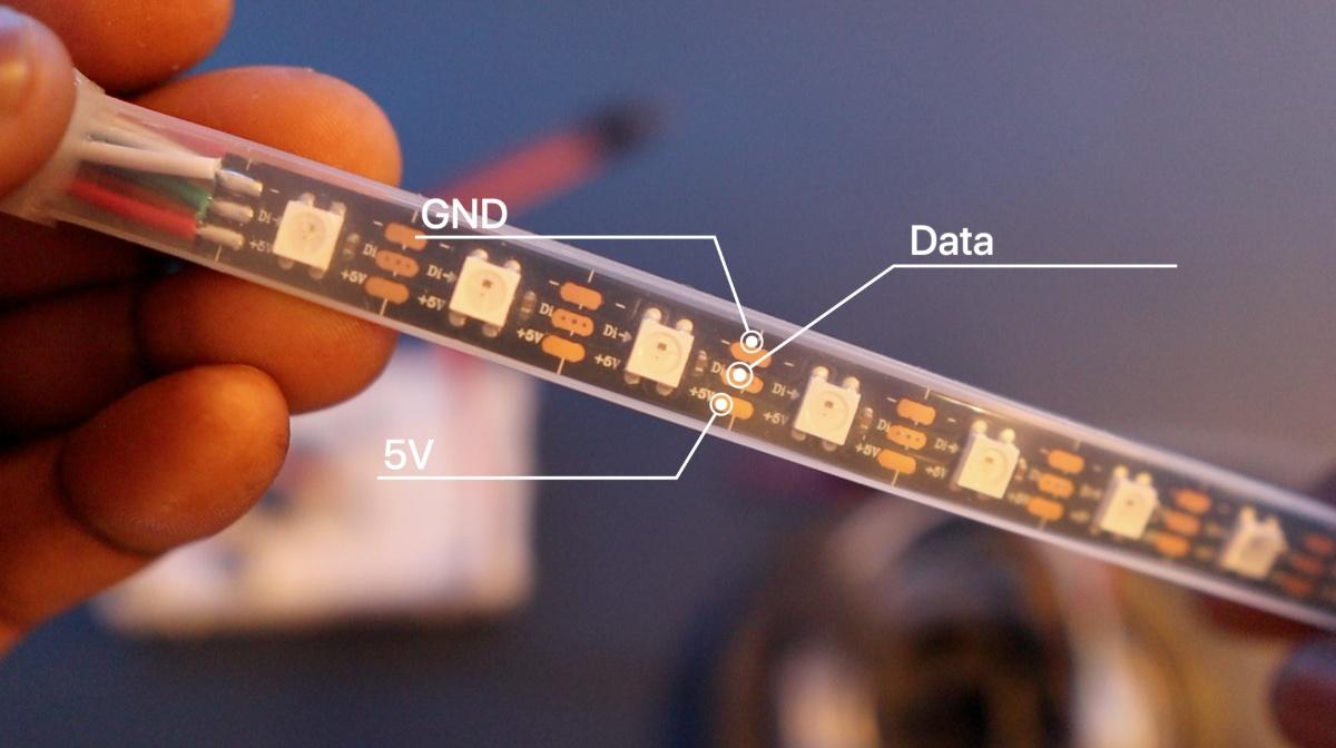 lightvest led strip data-pins