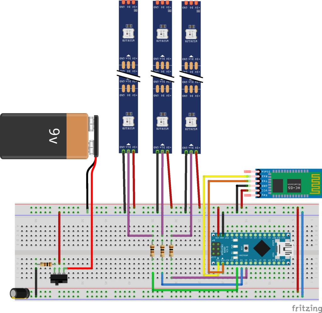 Fritzing Diagram of LED_bike_vest