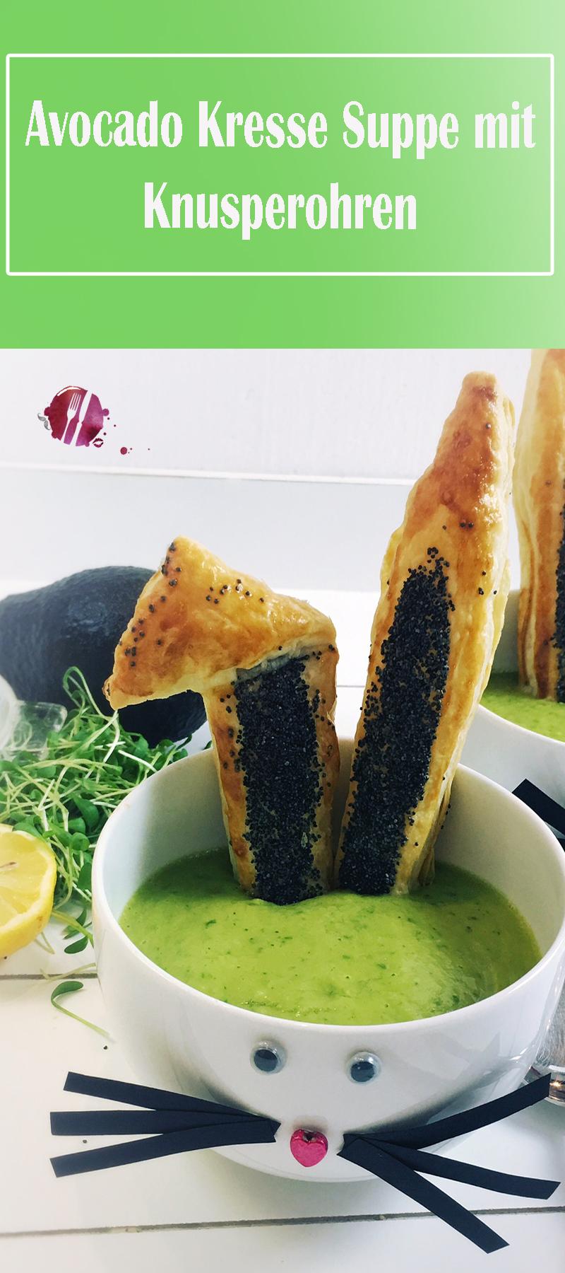 Avocado Kresse Suppe mit Knusperohren