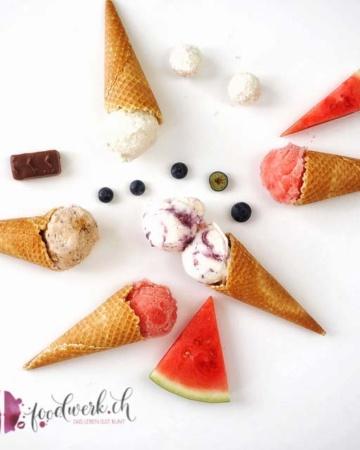 wassermelonen-, jogurt-, snickers- und raffaelloeis