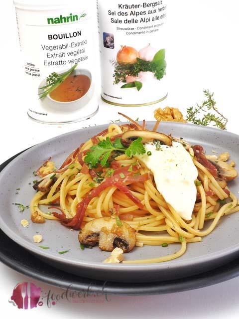 Spaghetti mit Nahrin Produkten