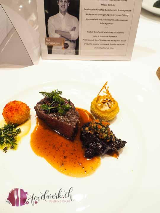 Rinderbacke|Rinderfilet|Kartoffelkugel mit Gruyere|Selleriepürée