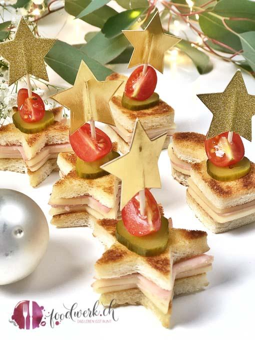 Toaststerne als Apero Snacks Ideen für Weihnachten