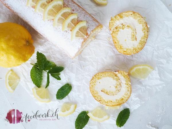 Frische Zitronen Füllung in der Roulade