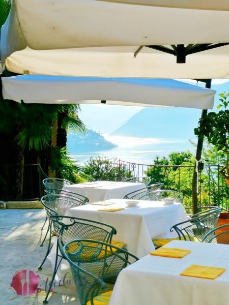 Ristorante Principe Leopoldo Sicht beim Frühstück auf Luganer See
