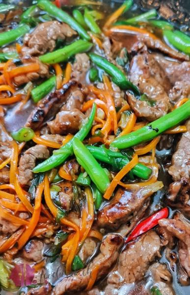 Mongolisches Rindfleisch detail