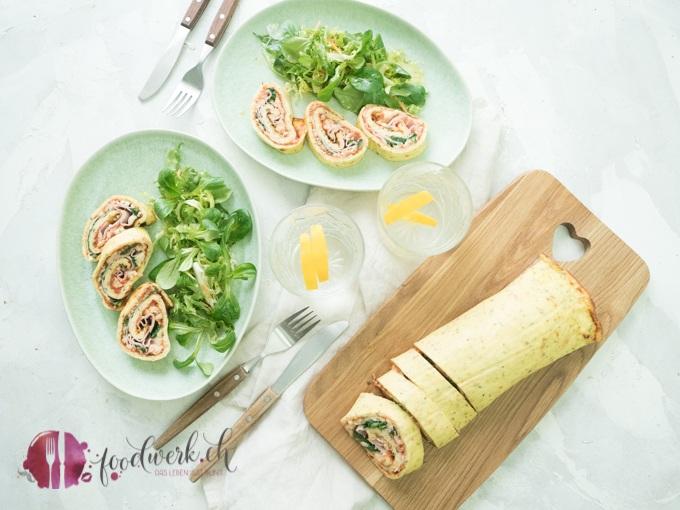 Low Carb Pizzarolle mit Salat