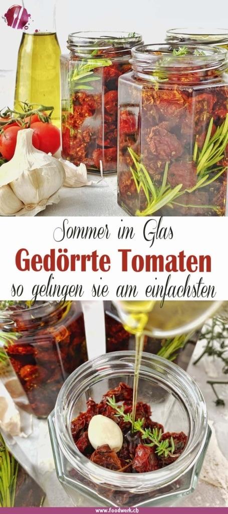 Pinterest Pin für die Getrockneten Tomaten im Glas