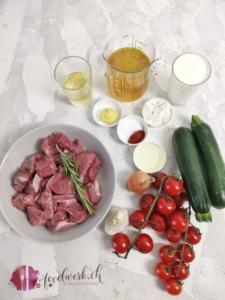 Zutaten für das Truten Ragout mit Gartengemüse